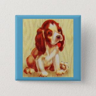 Badge Carré 5 Cm petit chiot mignon de beagle