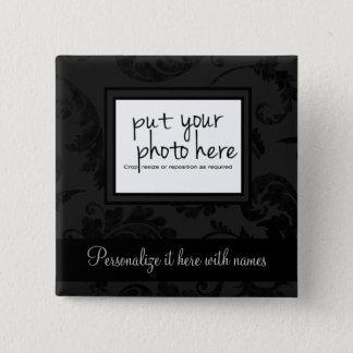 Badge Carré 5 Cm Photo florale et texte de style noir élégant de