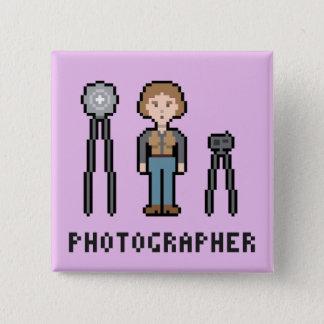 Badge Carré 5 Cm Photographe de pixel - version femelle