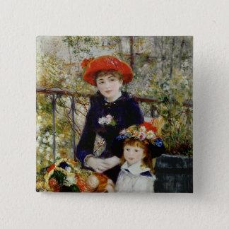Badge Carré 5 Cm Pierre un Renoir | deux soeurs, ou sur la terrasse