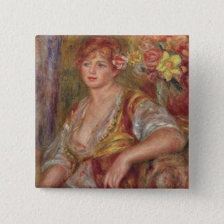 Badge Carré 5 Cm Pierre une femme blonde de Renoir | avec un rose