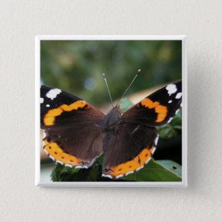 Badge Carré 5 Cm Pin d'amiral rouge papillon