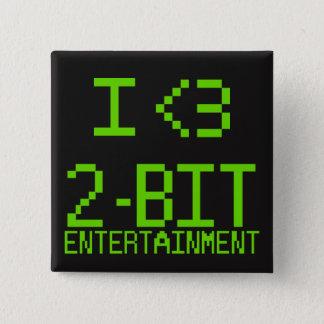 Badge Carré 5 Cm Pin de divertissement d'I <3 2-Bit