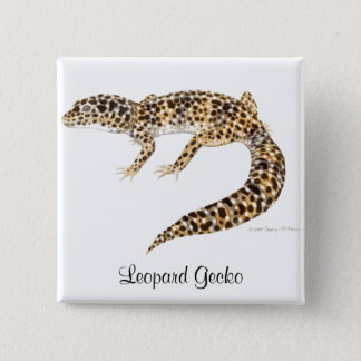 Badge Carré 5 Cm Pin de Gecko de léopard