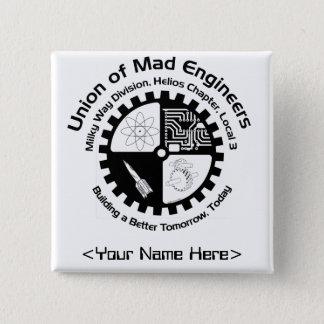 Badge Carré 5 Cm Pin nommé d'ingénieurs fous