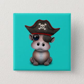 Badge Carré 5 Cm Pirate mignon d'hippopotame de bébé