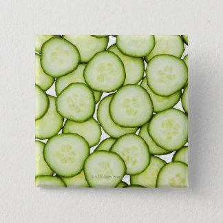 Badge Carré 5 Cm Plein cadre de concombre coupé en tranches, sur le