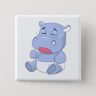 Badge Carré 5 Cm Pleurer d'hippopotame de bébé