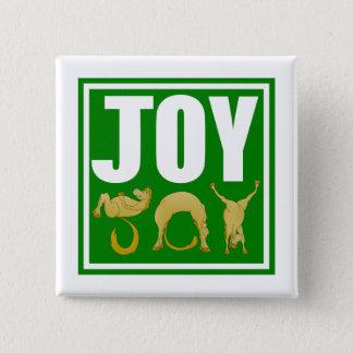 Badge Carré 5 Cm Poneys de Noël de joie