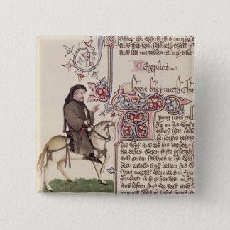 Badge Carré 5 Cm Portrait de télécopie de Geoffrey Chaucer de