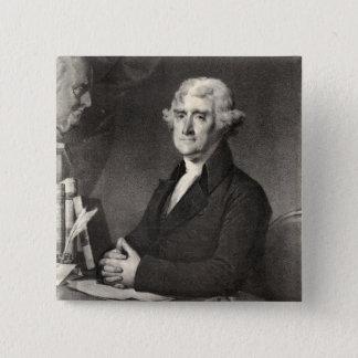 Badge Carré 5 Cm Portrait de Thomas Jefferson