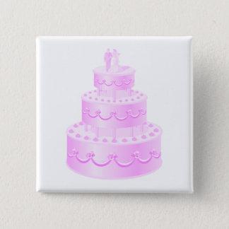 Badge Carré 5 Cm Pour toujours gâteau de mariage rose d'amour