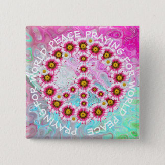 Badge Carré 5 Cm Prière pour le bouton floral de signe de paix du
