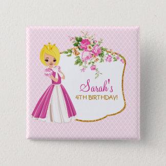 Badge Carré 5 Cm Princesse assez blonde Birthday Button