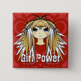 Badge Carré 5 Cm Puissance blonde ultra mignonne de rouge d'Anime