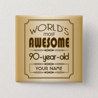 Badge Carré 5 Cm Quatre-vingt-dixième monde de célébration