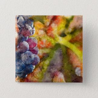 Badge Carré 5 Cm Raisins de cuve colorés sur la vigne