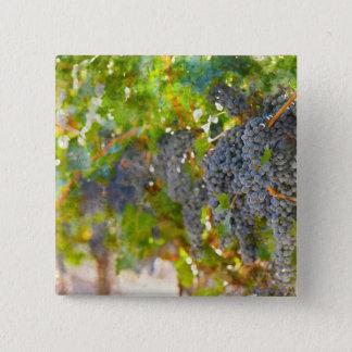 Badge Carré 5 Cm Raisins sur la vigne prête à faire le vin