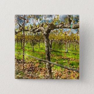 Badge Carré 5 Cm Rangées des vignes dans Napa Valley la Californie