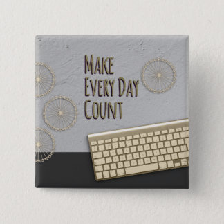 Badge Carré 5 Cm Réalisez chaque comptage de jour gris-foncé