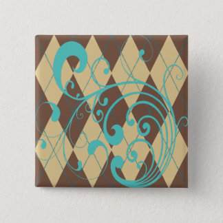 Badge Carré 5 Cm Remous à motifs de losanges de Brown