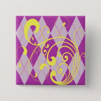 Badge Carré 5 Cm Remous à motifs de losanges pourpre