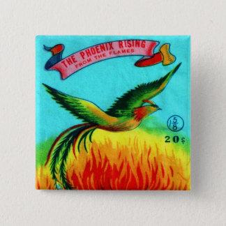 Badge Carré 5 Cm Rétro augmentation vintage de Phoenix de pétard de