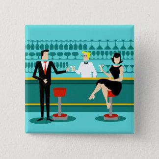 Badge Carré 5 Cm Rétro bouton de salon de cocktail