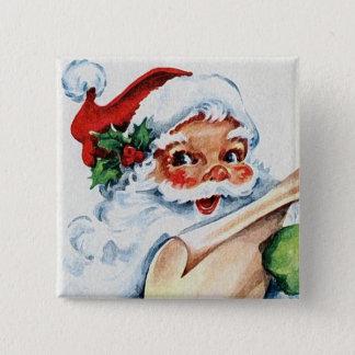 Badge Carré 5 Cm Rétro bouton vintage de carré d'art du père noël