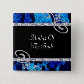 Badge Carré 5 Cm Roses bleus brillants et épouser de remous de