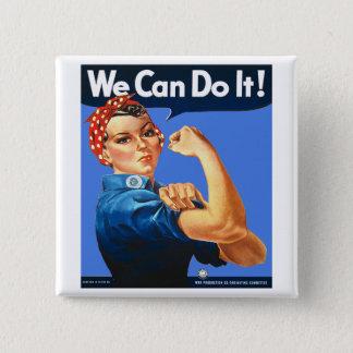Badge Carré 5 Cm Rosie l'insigne de bouton de rivoir