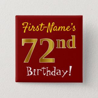 Badge Carré 5 Cm Rouge, anniversaire d'or de Faux