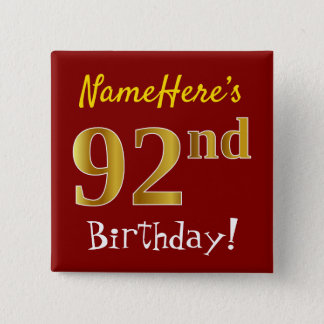 Badge Carré 5 Cm Rouge, anniversaire d'or de Faux