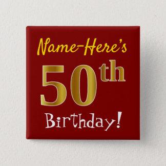 Badge Carré 5 Cm Rouge, anniversaire d'or de Faux cinquantième,