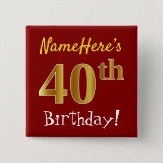 Badge Carré 5 Cm Rouge, anniversaire d'or de Faux quarantième, avec
