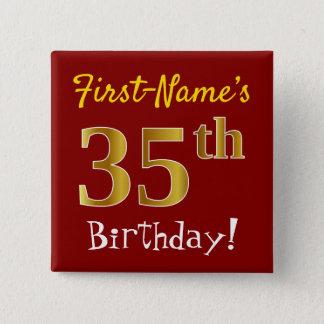 Badge Carré 5 Cm Rouge, anniversaire d'or de Faux trente-cinquième,