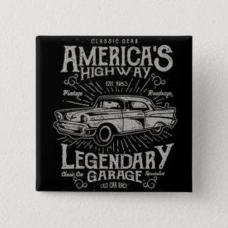 Badge Carré 5 Cm Route de la voiture | Hotrod américain classique