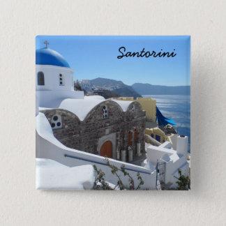 Badge Carré 5 Cm Santorini, Grèce