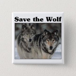 Badge Carré 5 Cm Sauvez le loup