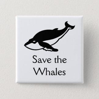 Badge Carré 5 Cm Sauvez les baleines