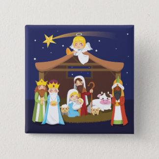 Badge Carré 5 Cm Scène de nativité de Noël