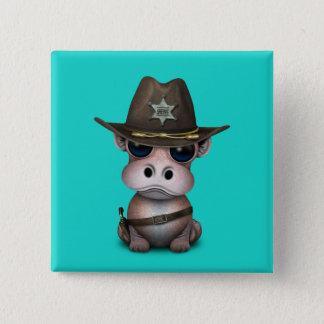 Badge Carré 5 Cm Shérif mignon d'hippopotame de bébé