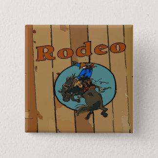 Badge Carré 5 Cm Signe s'opposant en bois de cheval de rodéo