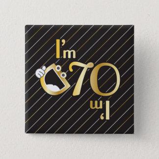 Badge Carré 5 Cm soixante-dixième Bouton carré d'anniversaire -
