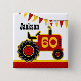Badge Carré 5 Cm Soixantième anniversaire de tracteur rouge