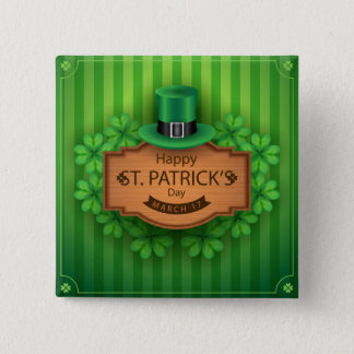 Badge Carré 5 Cm SSt. Le jour de Patrick - casquette et trèfles
