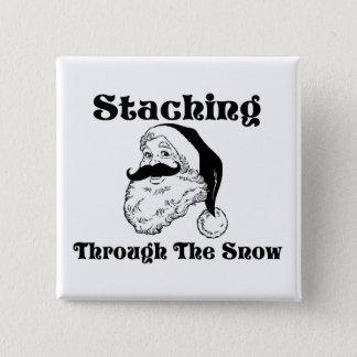 Badge Carré 5 Cm Staching par la neige Père Noël