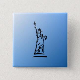 Badge Carré 5 Cm Statue de bleu de liberté