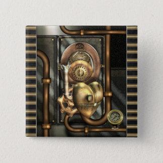Badge Carré 5 Cm Steampunk au coeur