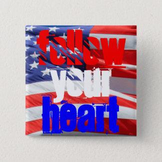 Badge Carré 5 Cm Suivez votre typographie inspirée d'amour de coeur